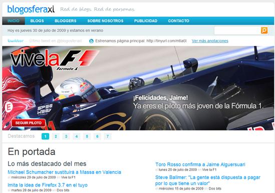 Nueva página principal de Blogosfera XL